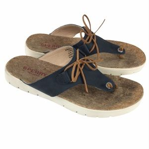 Sperry Blue Leather Sunkist Cara Sandal Sz 8.5